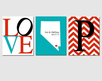 Modern Newlywed Trio - Set of Three 8x10 Custom Prints - Love, Chevron Monogram Initial, State Wedding Map - GREAT GIFT - Home Wall Decor