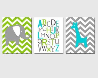 Nursery Art Trio - Chevron Elephant, Alphabet, Chevron Giraffe - Set of Three 11x14 Prints - CHOOSE YOUR COLORS