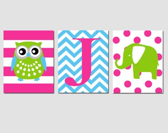 Modern Nursery Trio - Set of Three 8x10 Prints - Stripe Owl, Chevron Monogram, Polka Dot Elephant - CHOOSE YOUR COLORS
