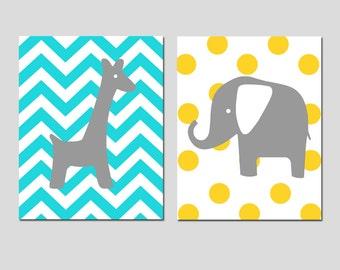 Elephant Giraffe Nursery Art - Set of Two 8x10 Prints - Chevron Giraffe, Polka Dot Elephant - CHOOSE YOUR COLORS - Aqua, Yellow, and More