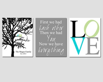 Family Trio - Set of Three 8x10 Prints - Family Established Tree, First We Had Each Other Quote, LOVE - Choose Your Colors