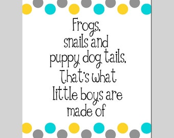 Frogs and Snails and Puppy Dog Tails Baby Boy Nursery Art - 11x14 Polka Dot Print - CHOOSE YOUR COLORS
