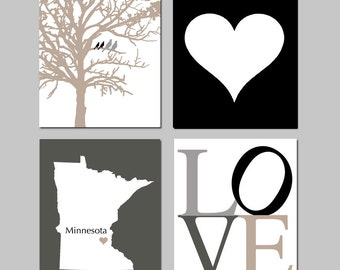 Family Love - Set of Four 8x10 Prints - Bird in a Tree, Simple Heart, State Map, LOVE Typography - Modern Home Decor