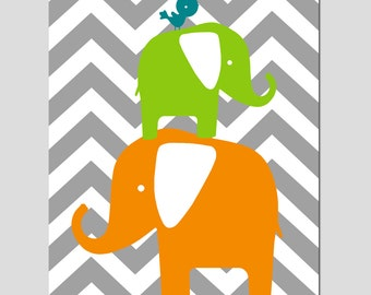 Chevron Elephant Bird Stack - Nursery Art - 8x10 Print - CHOOSE YOUR COLORS