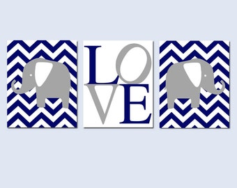 Chevron Elephant Love Nursery Art Trio - Set of Three 8x10 Prints - CHOOSE YOUR COLORS - Shown in Navy Blue and Gray