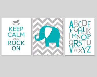 Nursery Art Trio - Set of Three 8x10 Prints - Chevron Elephant, Keep Calm and Rock On Nursery Quote, Modern Alphabet - CHOOSE YOUR COLORS