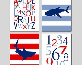 Shark Nursery Art Quad - Set of Four 11x14 Prints - Kids Wall Art for Nursery - Alphabet, Numbers, Striped Sharks - CHOOSE YOUR COLORS