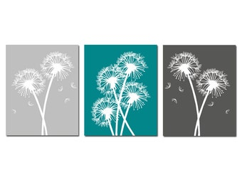 Modern Dandelion Floral Trio - Set of Three 8x10 Coordinating Prints - CHOOSE YOUR COLORS - Shown in Teal, Gunmetal, Pale Gray