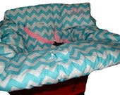 Shopping Cart Cover for baby or toddler girl or boy - Shopping Cart Seat Cover - Restaurant High Chair Cover - Aqua and White Cotton Chevron
