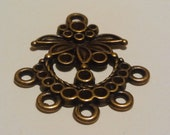 10 Antique Bronze Flowered connectors/Chandelier components