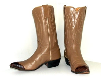 Light tan leather western cowboy boots with lizard wing tips size 5 A