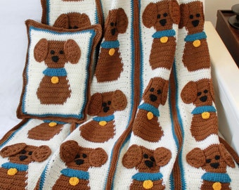 PA817 Puppy Love Afghan and Pillow Crochet Pattern PDF