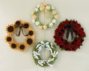 Floral Year of Wreaths - Set 2 (May to August) Crochet Pattern PDF