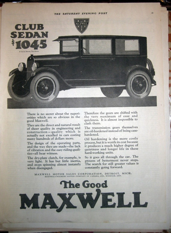 1924 The Good Maxwell Auto Automobile Ad Club Sedan Detroit MI