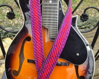 Purple and Red Lightning Mandolin Strap
