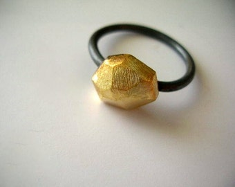 Polyhedron faceted rock  gold plated and oxidized sterling silver ring