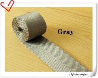 5 yards of 1.25 inch (32mm) Heavy weight Nylon webbing Gray ZD1
