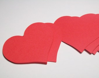 Red Paper Hearts - Heart Die Cuts - Heart Shapes - Die Cut Hearts - Heart Cutouts - Heart Embellishments - Valentine's Day - Wedding Decor