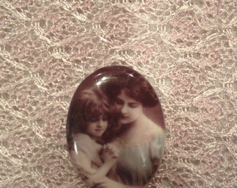 Mother and Daughter Cabochon Antique Vintage Photos Cabochon Retouched Vintage Cameo 40x30mm Unset