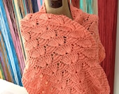SALE Coral Shell Wrap Shawl