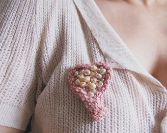 Silk and Pearls Brooch - Blushing Heart