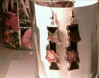 Vintage Black Cloisonne Enamel Column Earrings