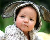 Little Donkey Hat - Hand Knit - Organic - Eco Friendly - Made to order - Rabbit Bunny - Halloween - Costume