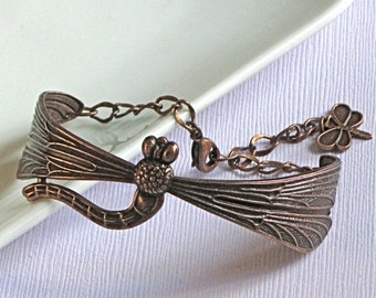 Copper Dragonfly Bracelet, Dragonfly Cuff, Dragonfly Jewelry, Nature Jewelry