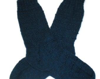 Socks - Hand Knit Women's Sapphire Blue Socks with Eyelet Pattern - Size 8-9