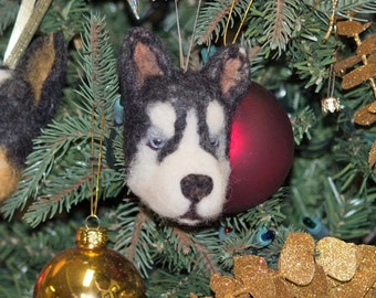 Needle Felted Ornament Siberian Husky Dog
