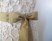 Dupioni Silk Wedding Sash in Antique Gold - longer length - ready to ship