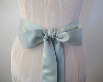 Mint Green Matte Satin Sash Bow Belt Wedding Sash Bridal Sash - custom length - made to order