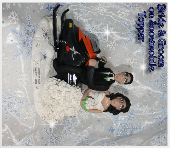 Wedding Cake Topper Snowmobile