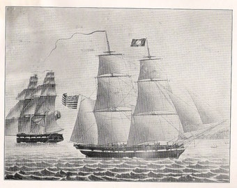 Antique Sailing Ship Print of the Brig Autumn, built in 1843