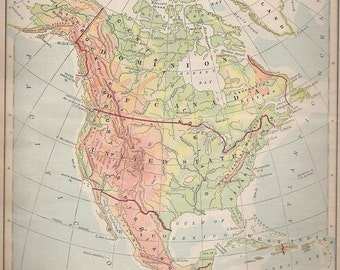 1894 Color Map of North America