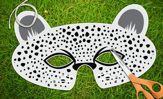 Snow leopard mask white leopard animal masks halloween for Cheetah face mask template