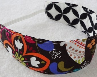 Reversible headband, child cotton headband, m2m Matilda Jane headband, bird flower geometrical black white orange purple  girl party favor