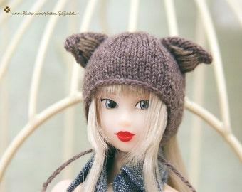 Jiajiadoll- hand knitting-brown cat helmet hat fits Momoko And Misaki
