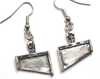 Silver French Guillotine Blade Earrings 224