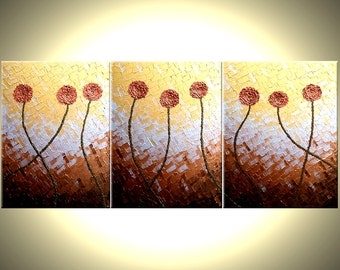 Red Flowers Painting, Abstract Copper Art, Impasto Flowers, Original Red Metallic Roses POPPIES, Textured Art By Lafferty - 66x28