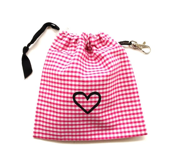 SALE - Pink Gingham Heart Dog Tidy Pouch