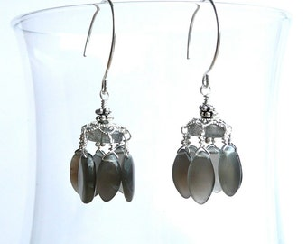 Moon Chandeliers -- Luminous Gray Moonstone Dangles