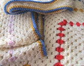 Afghan wool granny square blanket throw creamy white A1237