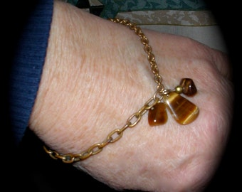 Delicate Bracelet Featuring Tigers Eye Drops and Chips on Two Different Repurposed Goldtoned Antique Costume Jewelry Chains