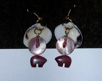 Earth and Her Waters Earrings of Shell, Garnet and Mookaite Stone Bear Fetish