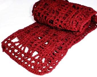 Hand Crochet Scarf Burgundy Cotton Lace Knit