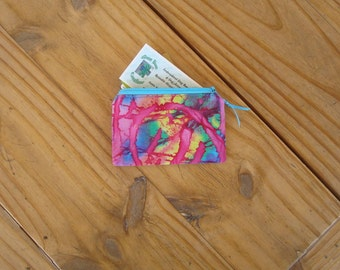 Zippered Credit Card Pouch in a Pink Batik Rainbow Swirl Print