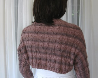 Knitted Shrug, Multi Brown Stripe Shrug, Sweater Shrug, Feather Motif Shrug, OOAK, Wool Blend Woman's Shrug Sweater, Tonal Browns