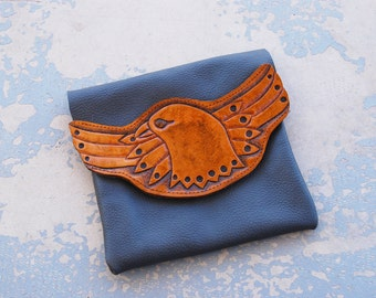 Tooled Leather Clutch - Soaring Eagle Brown and Gray Pouch - Custom Made to Order