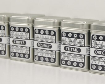 Customize Black & White Spice Tins With 24 Spice names-set of 6